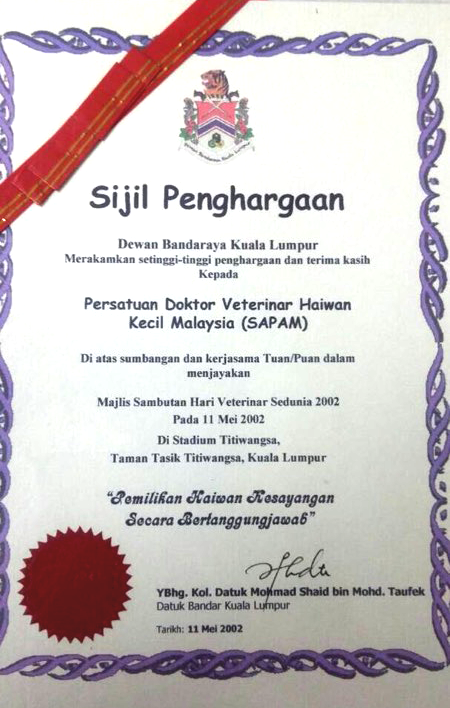 DBKL Apreciation Certificate World  Veterinary Day 2002